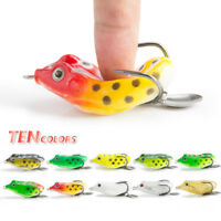 Soft Frog Fishing Lures Treble Hooks Topwater Crankbait Tackle Bass Minnow Baits