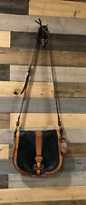 VINTAGE FOSSIL WHISKEY BROWN /BLACK LEATHER RE-ISSUE CROSSBODY FLAP SADDLE BAG