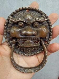 Bronze Door knocker,Antiques Old Feng Shui Expel the evil magical beast Statue
