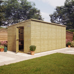 16x8 Pressure Treated Pent Garden Shed Windowless Gable End Door LEFT END 16x8'