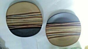 Square Dinnerware Set of 2 Stoneware Kitchen Plates / Dishes Brown