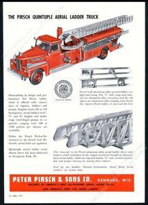 1957 Peter Pirsch fire engine ladder truck illustrated vintage print ad