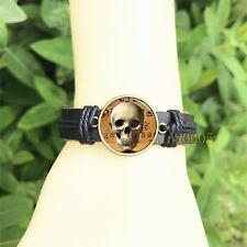 mm Glass Cabochon Leather Charm Bracelet Spooky Skull Ouija Board Background 20