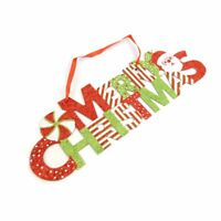 Green and Red Santa Merry Christmas Hanging Wall Indoor Sign Décor Ornament