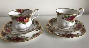 Vintage Royal Albert Old Country Roses Bone China 2X Cup Saucer Side Plate Trio