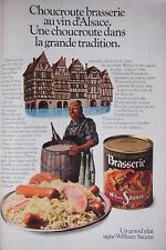 PUBLICITÉ DE PRESSE 1979 WILLIAM SAURIN CHOUCROUTE AU VIN D'ALSACE - ADVERTISING