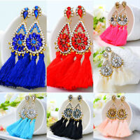 Women Fashion Bohemian Crystal Long Tassel Dangle Fringe Drop Stud Earrings New