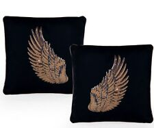 Pair of Black with Copper Rose Gold Angel Wing Cushions 45 cm Square