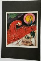 """Marc Chagall """"Red Roofs""""  Mounted Color Lithograph 10"""" x 11"""" 1968 Rare"""