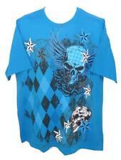 NEW XL BLUE DIAMONDS STARS SKULLS FAMOUS TATTOO ROSES ANGEL WINGS MEN SHIRT z