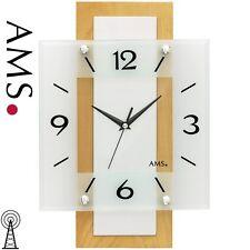 AMS 5507 Wanduhr Funk Funkwanduhr analog Holz Buche massiv eckig mit Glas