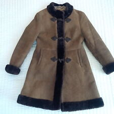 100% SHEEPSKIN SHEARLING GENUINE SUEDE LEATHER COAT  BROWN  SIZE XS PETITE