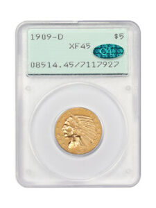 1909-D $5 PCGS/CAC XF45 (OGH Rattler) Indian Half Eagle - Gold Coin