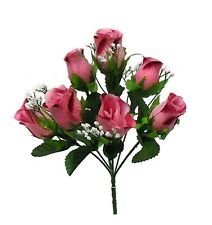 5 Soft Roses Buds ~ MANY COLORS ~ Silk Wedding Flowers Bouquets Centerpieces