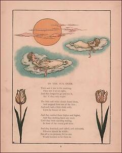 GIRLS ON CLOUD BEDS FLOAT UP TO SEE THE SUN RISE & SET, Kate Greenaway, 1885*