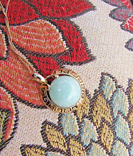 """14K Yellow Gold Natural Jadeite Cabochon Grecian Key Setting Necklace 16"""" Chain"""