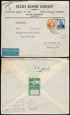 SPAIN TENERIFE 1934 AIRMAIL J.ROSSI AGUDO to HAMBURG GERMANY + TOURIST SEAL