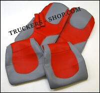 DAF 106 /105 / CF / XF LEATHERETTE SEAT COVERS RED/GREY [TRUCK PARTS]