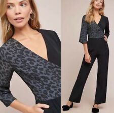 Anthropologie Kachel Leopard Animal Print Colorblock Jumpsuit Sz 8 NWT