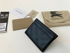 BURBERRY CARD CASE [LONDON PEBBLE LEATHER] HOLDER WALLET CHECK LOGO EMBOSSED BLK