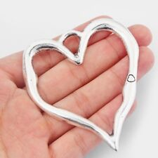 3Pcs Large Antique Silver Open Heart Charms Pendant Jewelry Findings 79*67mm