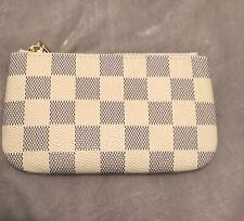 Rita Messi Change Purse With Key Holder Hook Cream/black Checkered