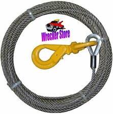 """3/8"""" x 65' WRECKER WINCH CABLE W/ SELF LOCK SWIVEL HOOK for Wrecker Rollback etc"""