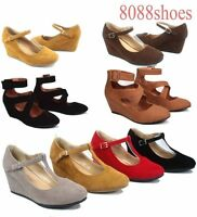 Women's  Round Toe T-Strap Strappy Low Wedge Platform Heel Shoe  Size 5 - 10 NEW