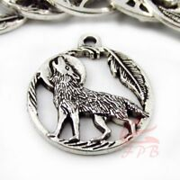 Howling Wolf Charms 25mm Antiqued Silver Plated Pendants SC0088143 - 4/15/30PCs
