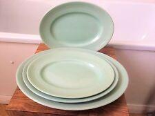 "Woods Ware Beryl ~green ~ 4 x oval platters 11""x2/12""/14""~ utility/ village hall"