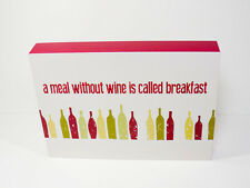 """Hangable Wooden Wall Art with Quote  """"a meal without wine is called breakfast"""""""