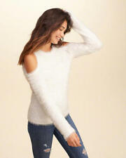 NWT Hollister/Abercrombie Women Size M Cold Shoulder White Fluffy Furry Sweater