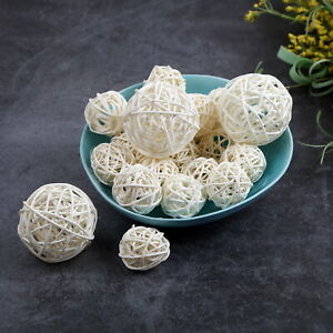 Valentines Day Aromatherapy Accessories Lavender, 1.2 Inch Worldoor 12 Pieces Wicker Rattan Balls Decorative Orbs Vase Fillers for Craft Wedding Table Decoration Party Baby Shower