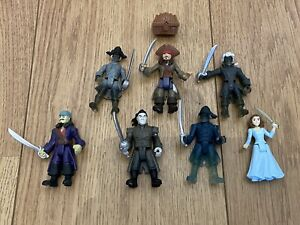 PIRATES OF THE CARIBBEAN 7x FIGURES +1 JOB LOT JACK SPARROW 3 INCHES DISNEY