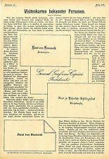Visitenkarten bekannter Persönlichkeiten Fürst von Bismarck, zu Hohenlohe...1899