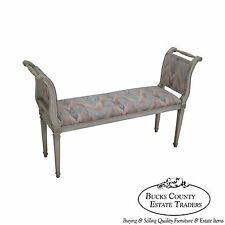 Vintage Distressed Painted French Louis Xvi Style High Arm Window Bench
