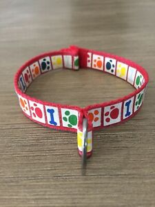 BAB BUILD A BEAR WORKSHOP Rainbow paws puppy dog red collar