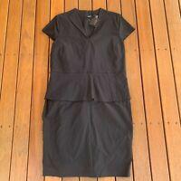 New Basque Plus Size 18 Black Pencil Peplum Work Corporate Dress RRP $149