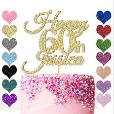 Personalised Glitter Happy 60th Birthday Cake Topper Custom Name 16 18 21 40 50