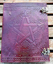 """XXL Pentagram and Celtic leather journal , book of shadows, Wicca Pagan 13""""x10"""""""
