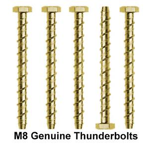 M8 x 75mm GENUINE THUNDERBOLT MASONRY CONCRETE ANCHOR BOLTS SCREW YELLOW ZINC