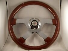 "Wood Mahogany 13-3/4"" Steering Wheel Four Spoke Chrome Center 4 Spoke Wheel"