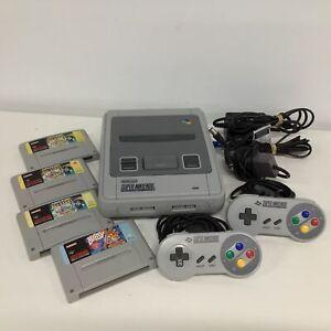 Super Nintendo SNES Console w/ 2 Controllers & Mario All Stars x3 & Bubsy #452