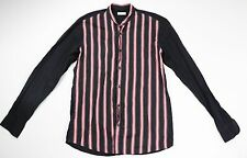 Dries Van Noten Black Pink Striped Band Collar Shirt Size EU 48 $360
