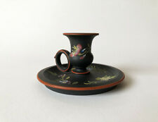 SUPERB WEDGWOOD JAPANNED BLACK BASALT CANDLESTICK 1820 - 1830