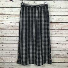 Poetry Checked Delave Linen Midi Skirt Sz 8 Gray Plaid Drawstring Waist Pockets
