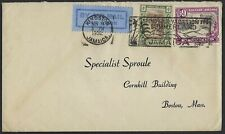 JAMAICA 1932 AIR MAIL COVER FRANKED SG 97 & 113 W/ SLOGAN & NEAT KINGSTON CANCEL