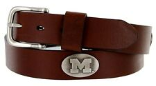 Mens Collegiate University Leather Overlay Concho Brown Belt - Michigian
