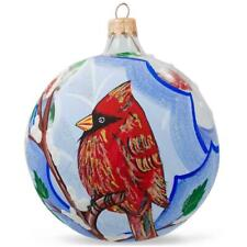 Cardinal in Winter, Bird Glass Ball Christmas Ornament 4 Inches