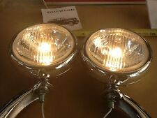 NEW PAIR OF CLAER 12 VOLT SMALL VINTAGE STYLE FOG LIGHTS WITH CHROME BRACKETS !